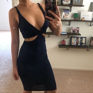 ASOS navy cut out midi